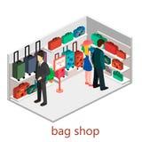 Isometric infographic.Flat interior of luggage shop. Stock Image