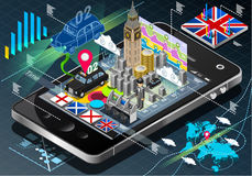Isometric Infographic of Great Britain on Mobile Phone Stock Photo