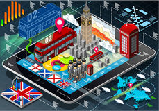 Isometric Infographic of Great Britain on Tablet Royalty Free Stock Photos