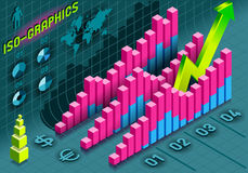Isometric Infographic  Histogram Set Elements in Various Colors. Detailed illustration of a Isometric Infographic  Histogram Set Elements in Various Colors Royalty Free Stock Image