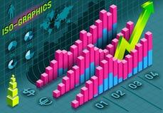 Isometric Infographic histograma Ustaleni elementy w Różnorodnych kolorach Obraz Royalty Free