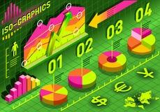 Isometric Infographic histograma Ustaleni elementy w Różnorodnych kolorach Zdjęcia Royalty Free