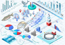 Isometric Infographic Ice Fishing Set. Detailed illustration of a Isometric Infographic Ice Fishing Set in Various Colors Stock Images