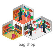 Isometric infographic. interior of luggage shop Royalty Free Stock Image