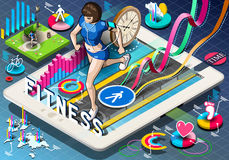 Isometric Infographic with Jogging Woman. Detailed illustration of a Isometric Infographic with Jogging Woman on Tablet Stock Photography