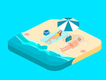 Isometric infographic landscape with sea and people on the beach. Isometric flat 3D landscape. Stock Image