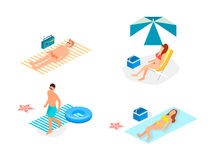 Isometric infographic landscape with sea and people on the beach. Isometric flat 3D landscape. Stock Photos
