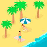 Isometric infographic landscape with sea and people on the beach. Isometric flat 3D landscape. Royalty Free Stock Photography