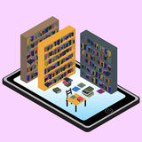 Isometric infographic about  libraries and informations in mobil. E in vector Stock Images