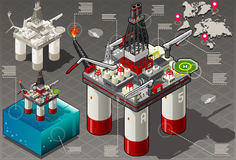 Isometric Infographic Rig Energy Set Royalty Free Stock Photos