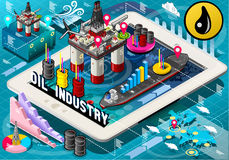 Isometric Infographic Rig Energy Set on Tablet Royalty Free Stock Image
