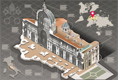 Isometric Infographic of Saint Peter in Rome Centre Section Royalty Free Stock Images