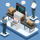 Isometric Infographic Security Check Stock Images