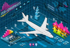Isometric Infographic Set Elements with Airplane Stock Photos