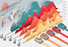 Isometric Infographic Set Elements with transparency. Detailed illustration of a Isometric Infographic Set Elements with different cars Royalty Free Stock Image