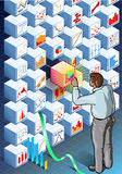 Isometric Infographic with Standing Man on Statistics Wall Royalty Free Stock Image