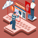 Isometric Infographic Thief Biometric Recognition - Access Denie Stock Images