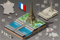 Isometric Infographic Tour Eiffel in Paris - HD Quality Stock Image