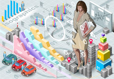 Isometric Infographic Woman Secretary Set Elements Royalty Free Stock Image