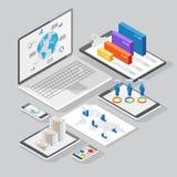 Isometric infographics design elements Stock Images