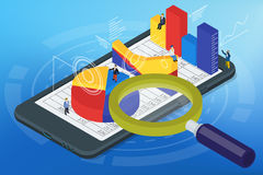Isometric infographics on the mobile phone Stock Photography