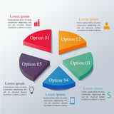 Isometric infographics options template. With 3d colorful circle divided into 5 parts. Can be used for workflow layout, diagram, number options, step up options Stock Image