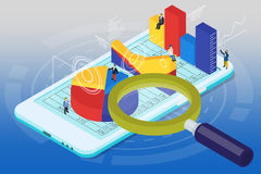 Isometric infographics on the white mobile phone Royalty Free Stock Photos