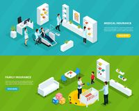 Isometric Insurance Service Horizontal Banners. With medical assurance and family protection vector illustration Royalty Free Stock Photos