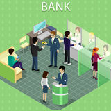 Isometric Interior of the Bank with People Royalty Free Stock Photography