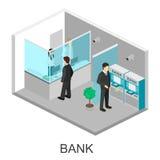 Isometric interior of bank Stock Photos