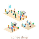 Isometric interior of coffee shop. flat 3D isometric design interior cafe or restaurant. People sit at tables and eat. Royalty Free Stock Photos