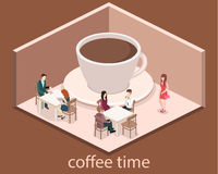 Isometric interior of coffee shop. flat 3D isometric design interior cafe or restaurant. People sit at tables and eat. Royalty Free Stock Photo
