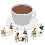 Isometric interior of coffee shop. flat 3D isometric design interior cafe or restaurant. People sit at tables and eat. Royalty Free Stock Image