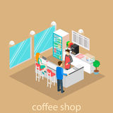 Isometric interior of coffee shop. Royalty Free Stock Photography