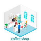 Isometric interior of coffee shop. Stock Images