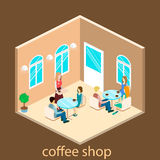 Isometric interior of coffee shop. Royalty Free Stock Images