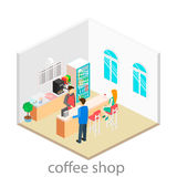 Isometric interior of coffee shop. Stock Image