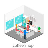 Isometric interior of coffee shop. Stock Photos