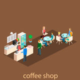 Isometric interior of coffee shop. Stock Photography