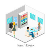 Isometric interior of a coffee shop in the office Royalty Free Stock Images