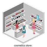 Isometric interior of cosmetics shop Stock Image