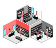 Isometric interior of cosmetics shop Royalty Free Stock Images