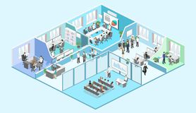 Isometric interior departments concept vector. conference hall, offices, workplaces. Isometric flat 3d abstract office floor interior departments concept vector royalty free illustration