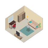 Isometric Interior Design. Living Room Furniture. Isometric room interior design. Sofa, cupboard, carpet, floor lamp, table, chair TV. Furniture isometric Royalty Free Stock Photography