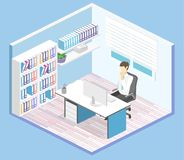 Isometric interior of director`s office. Flat 3D illustration cabinet. Isometric interior of director`s office. Flat 3D illustration of cabinet Stock Photography