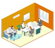 Isometric interior of director`s office. Flat 3D illustration cabinet. Isometric interior of director`s office. Flat 3D illustration of cabinet Royalty Free Stock Photos
