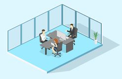 Isometric interior director`s office. Flat 3D illustration of cabinet. Isometric interior of director`s office. Flat 3D illustration of cabinet Royalty Free Stock Photography
