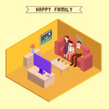 Isometric Interior. Family Watching TV Stock Photography