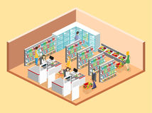 Isometric interior of grocery store. Royalty Free Stock Photos