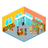 Isometric interior of grocery store. Shopping mall flat 3d isometric concept web illustration. Set of objects stock illustration